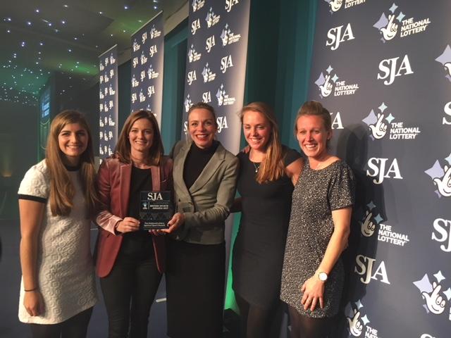 Kate & Helen take prestigious Sports Journalist Association Award.