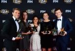 BERLIJN - FIH Hockey Stars Awards Foto: Stars of 2017 Vincent Vanasch, Maddie Hinch, Maria Jose Granatto, Delfina Merino and Arthur van Doren WORLDSPORTPICS COPYRIGHT FRANK UIJLENBROEK