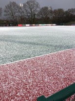 The Sugden Road Pitch After A Half Time Hailstorm. Photo - Colin Pike