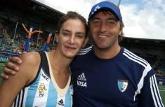 DEN HAAG - Rabobank Hockey World Cup 37 3rd Place match: Argentina - USA Foto: Luciana Aymar (left) and Carlos Retegui. COPYRIGHT FRANK UIJLENBROEK FFU PRESS AGENCY