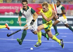 Gold Coast 2018 Commonwealth Games Hockey Centre 7/4/18 Day 3 Australia v Sth Africa Men Daniel Beale Photo: Grant Treeby