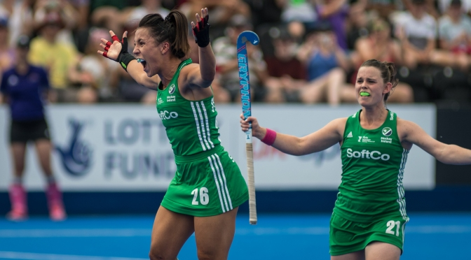 Ireland celebrate as they become first team to qualify for Vitality Hockey Women's World Cup quarter finals