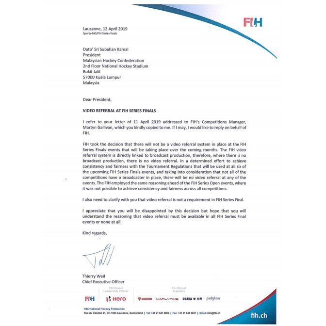 Malaysia Referral Appeal Shot Down By FIH