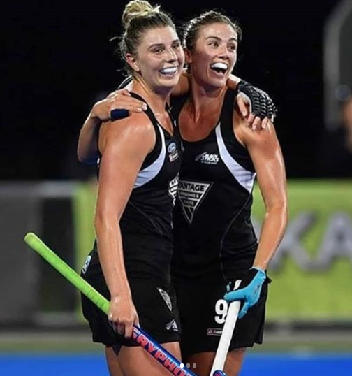 Olivia Merry of New Zealand celebrates with Brooke Neal